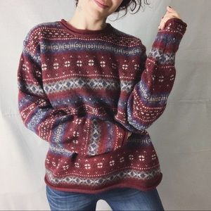 EDDIE BAUER VINTAGE Wool Fair Isle Ski Sweater